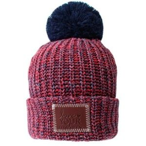 Love Your Melon New England Beanie Navy Pom
